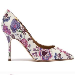 Tory Burch Penelope 85mm Floral Leather Pump